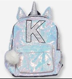 """NWT Justice Quilted Unicorn /""""Initial/"""" Backpack /& Lunchbox Set Choose Letter!"""
