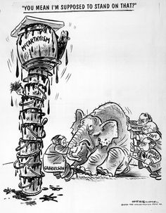 Cartoon of Democrats pulling an elephant to stand on top of a stack of wobbly paint cans with a barrel labeled 'McCarthyism. Canadian History, Us History, American History, History Memes, Cold War Propaganda, Propaganda Art, Political Cartoon Analysis, Political Cartoons, Red Scare