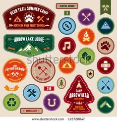 Set of scout badges and merit badges for outdoor activities