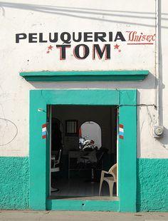 barbershop in Oaxaca City, Mexico Taco Restaurant, Restaurant Design, Restaurant Branding, Oaxaca City Mexico, Mexican Bar, Mexican Style, Latina, Taco Shop, Shop Fronts