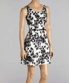 Another great find on #zulily! Black & White Floral Belted Sleeveless Dress #zulilyfinds