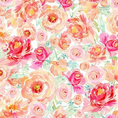 Kristy is offering a limited selection of her favorite floral patterns in fabric yardage featuring her Peach Peony Fuchsia Rose artwork.Here, soft watercolo...