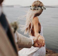 bohemian bride wearing flower crown and lace wedding dress with spaghetti straps bohemisk brud som b Wedding Goals, Wedding Pics, Wedding Couples, Trendy Wedding, Boho Wedding, Dream Wedding, Wedding Day, Wedding Beach, Wedding Reception
