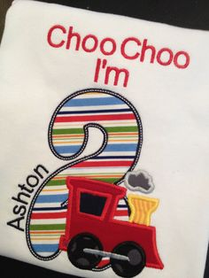 This shirt is perfect for for your little ones train themed birthday party. If you would like different colors please let me know in notes to