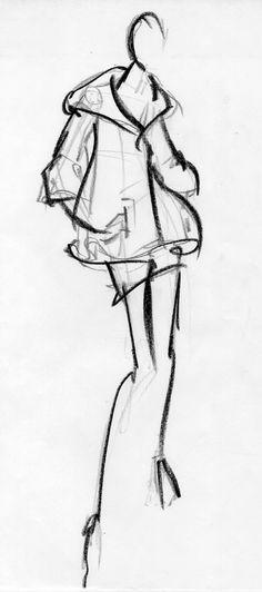 Fashion Sketch - fashion illustration, stylish charcoal drawing // Susanna Ngao