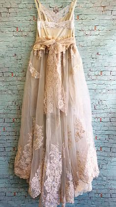 (back view) blush ecru & taupe organza chiffon appliqué by mermaidmisskristin