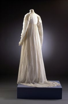 Dress with a Slight Train, Woven Muslin & Embroidered. English, 1808-1812.
