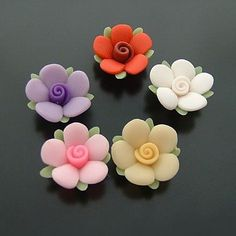 Ploymer clay flower beads fruit fimo beads ceramic beads ceramic beads for handmade necklace Polymer Clay Kawaii, Polymer Clay Flowers, Ceramic Flowers, Polymer Clay Crafts, Diy Clay, Polymer Clay Earrings, Decors Pate A Sucre, Handgemachtes Baby, Clay Fairy House