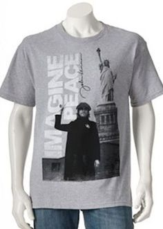 John Lennon Mens t-shirt Imagine Peace Statue of Liberty NY Gray  L  #Zion #GraphicTee