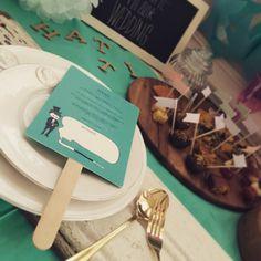 【席札 & Menu】ティファニー風 TIFFANY BLUE うちわタイプ | HATTI Wedding Shop