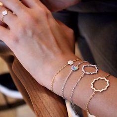 Caspita Gold and Diamond Silhouette Swadhisthana Bracelet Latest Jewellery, Luxury Jewelry, 18k Gold, Delicate, Sparkle, Silhouette, Jewels, Diamond, Bracelets