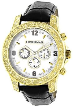 4398f004c570 Luxurman Raptor 2362 Gold-tone Quartz 0.50ct Diamond Yellow Dial Mens Watch  Bolsas