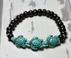 Turquoise Sea Turtle Bracelet by BeadRustic on Etsy, $22.00