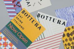 Brand identity and print communication for Singapore based Italian restaurant Bottura by graphic design studio Foreign Policy