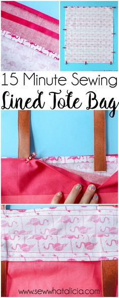 How to Make a Tote Bag: This installment of the 15 minute sewing series has us creating an easy lined tote bag. This is a great beginner sewing project. Newbies will learn to create an easy tote pattern. Click through for the full tutorial. #sewing #sew