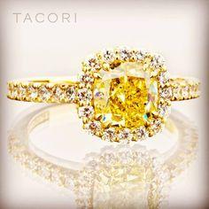 Tacori fancy yellow diamond ring