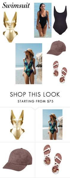 """""""One-piece swimsuits"""" by dianthesiva ❤ liked on Polyvore featuring Topshop, Vianel, Tory Burch, Summer, Swimsuits, summersandals, onepieceswimsuit and summerhat"""