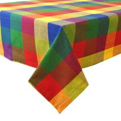 Palette Check Indian Summer Tablecloth - 52 x 52 inch, Multicolor