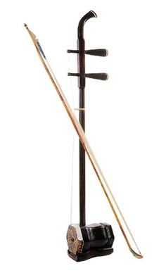 "Er-hu.  Two-string bowed Chinese musical instrument, known in the West as the ""Chinese violin"" or ""Chinese two-string fiddle""."