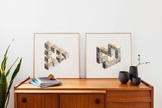 2 prints two-dimensional shapes. B&W rocks and by Congostudio