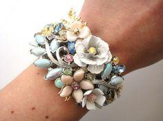 Bridal cuff  wedding bracelet in soft pastel colour by OOAKjewelz,