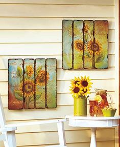 Display the ultimate shabby chic accent piece with this Set of 2 Printed Pallet Wall Art. The design is printed on distressed, pallet-style wooden planks for an authentic rustic look. Ready to hang. Pallet Wall Art, Rustic Wall Art, Pallet Painting, Tole Painting, Tuscan Decorating, Porch Decorating, Decorating Ideas, Craft Ideas, Wall Art Sets