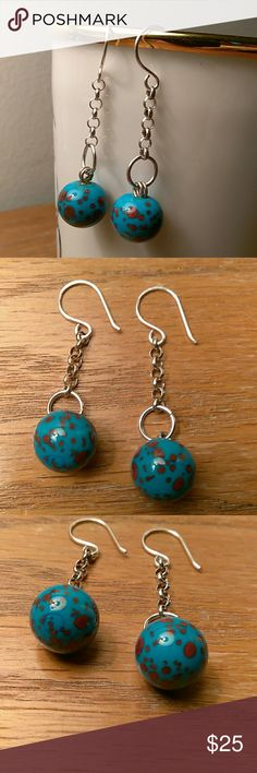 Robin's Egg Blue Dangle Earrings The pretty spots on the beads is between a brown and a red color Jewelry Earrings