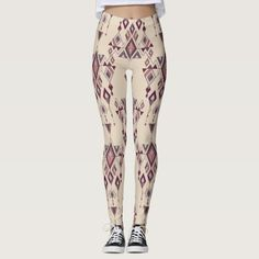 Vintage ethnic tribal aztec ornament leggings