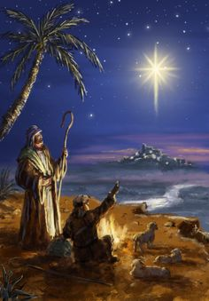 Shepherd see the star of Bethlehem -- by Marcello Corti: Ref: Christmas Scenes, Christmas Nativity, A Christmas Story, Christmas Pictures, Winter Christmas, Xmas, Bible Pictures, Jesus Pictures, Religious Pictures