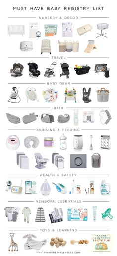 Must Have Baby Registry List! This is a complete list of baby essentials for first time moms. This is a comprehensive list of baby registry must haves! I have compiled a complete baby registry list th Baby Registry Essentials, Best Baby Registry, Baby Registry Must Haves, Baby Registry Items, Baby Registry Checklist, Newborn Essentials List, New Baby Checklist, Baby Registry Amazon, Buy Buy Baby Registry