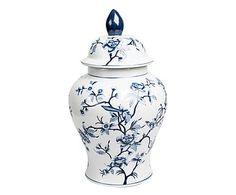 Porseleinen vaas met deksel Flora, blauw/wit, H 41 cm