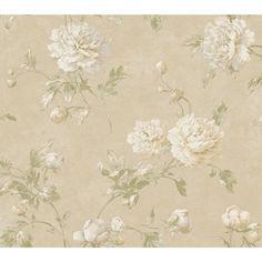 Fresco Caramel, Cream and Soft Gray Wellington Wallpaper