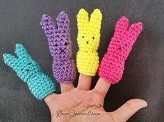 Easter Bunny Crochet Finger Puppet. Free pattern via ravelry's link provided.