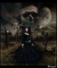Witch sorceress, skeleton moon, blackbirds and spooky scarecrow .... awesome Halloween picture!