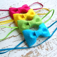 Neon felt bow headbands set of 4