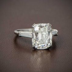 7.01ct Antique Cushion Cut Diamond Engagement Ring. Sold by Estate Diamond Jewelry