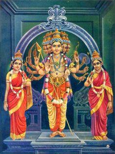 Can anyone identify the deities? Lord Ganesha Paintings, Lord Shiva Painting, Om Namah Shivaya, Lord Murugan Wallpapers, Durga Images, Lord Balaji, Hindu Deities, Hinduism, Spiritual Images