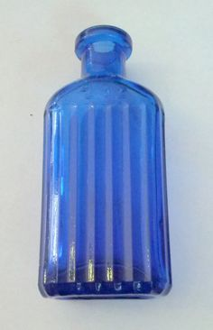 Antique 1890's Blue Glass Ribbed 2 Oz Poison Bottle by OtterCreekAntiques, $24.95