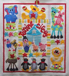 Quilts on Bastings: Toy Time Circus - A Baby Applique Quilt  made in Australia, quilted by Quilts on Bastings