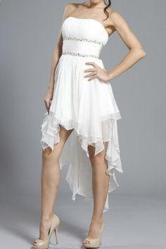 wedding reception dresses, short wedding dresses, white high low dresses