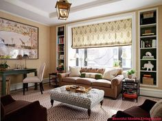 Warm and eclectic, yet elegant, basement colors.  Light slate blue, golden beige, moss green, with brown accents.  This window treatment might be perfect for that weird, narrow, long rectangle basement window.
