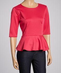 Fuschia Peplum Top - Women by J-Mode USA Los Angeles #zulily #zulilyfinds
