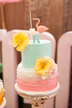 Tropical Flamingo themed birthday party via Kara's Party Ideas… Luau Birthday Cakes, Luau Cakes, 13th Birthday Parties, Birthday Bash, Party Cakes, Birthday Party Themes, Girl Birthday, Birthday Ideas, 16th Birthday