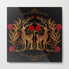 Two Stags Protecting The Dark Forest Gate Mini Art Print by sunnybunny Decopage, Russian Folk Art, Scandinavian Folk Art, Dark Forest, Canvas Prints, Art Prints, Metal Art, Fairy Tales, Drawings