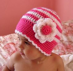 PDF Instant Download Crochet Pattern No 053  Striped Beanie With Flower All sizes baby toddler child adult crochet tutorial by JTeasycrochet on Etsy https://www.etsy.com/listing/67050293/pdf-instant-download-crochet-pattern-no