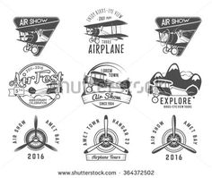 Vintage airplane emblems. Biplane labels. Retro Plane badges, plane design elements. Aviation stamps collection Aerial logo and logotype. Fly stamps isolate, pilot academy symbols Vector Jet elements.