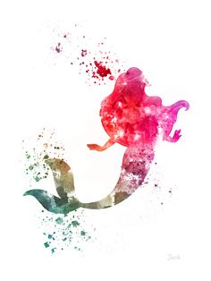 Ariel The Little Mermaid ART PRINT 10 x 8 by SubjectArt on Etsy