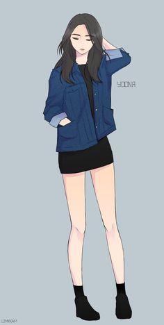 23 Ideas For Art Girl Drawing Anime Anime Art Girl, Manga Girl, Anime Girls, Anime Outfits, Girl Outfits, Poses, Cover Wattpad, Tmblr Girl, Arte Indie