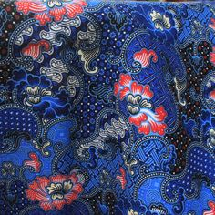 blue  flowers print Thai  traditional print ,Thai Batik ,batik sarong fabric,cotton 2 yards. by TheThailand on Etsy