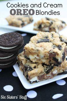 Cookies and Cream Oreo Blondies Recipe on MyRecipeMagic.com